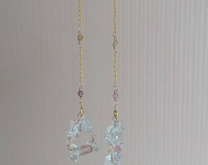 Long threader earrings with watermelon tourmaline and herkimer diamonds,