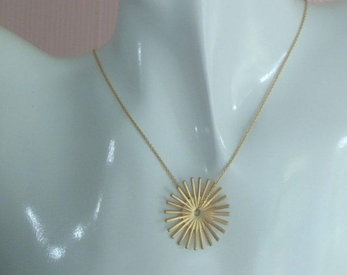 Gold sunburst pendant, 14k gold fill necklace with sun charm