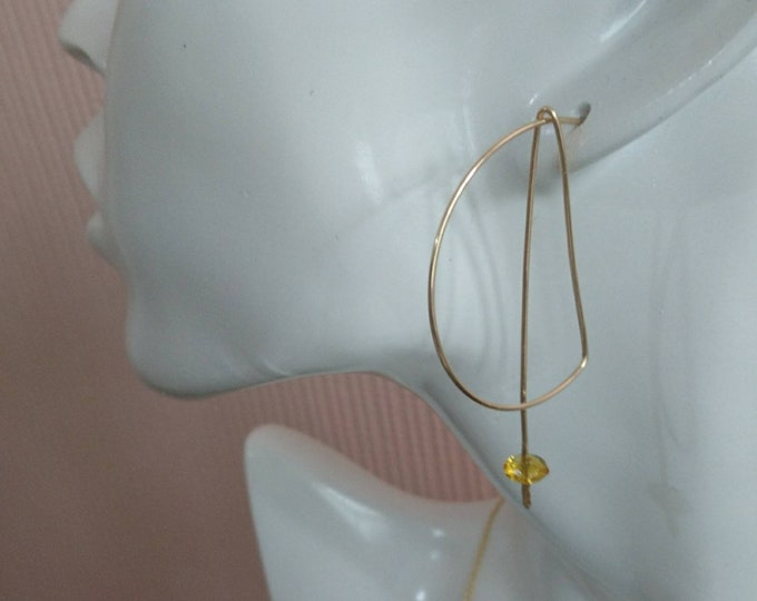 Mismatched hoops with faceted citrine, modern earrings, geometric jewellery