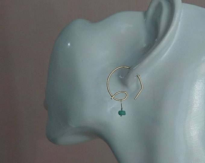Emerald hoop earrings for May birthday, drop earrings, open hoops with dainty gemstone drops