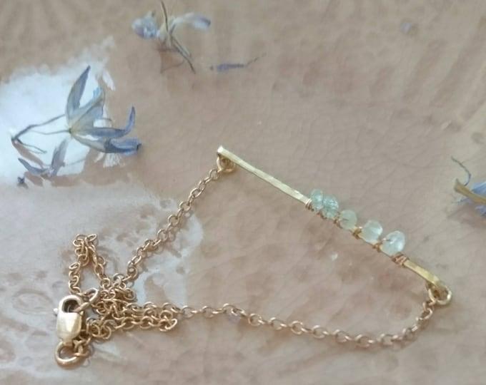 Aquamarine bracelet, skinny bar bracelet with tiny faceted aquamarines, March birthstone gift for her Christmas, something blue