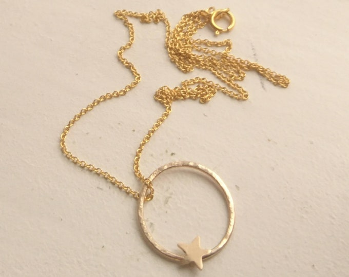 """Star circle pendant,  16"""" gold fill fine chain with star"""