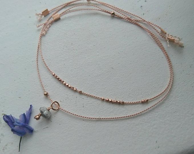 Two bracelet set, raw diamond charm silk cord  bracelet with beads, April birthstone