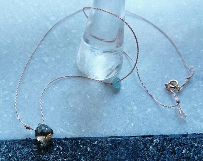 Smoky quartz necklace,  silk cord with aquamarine, floating gem necklace, boho chic fashion, minimalist dainty jewelry, best friend  gift