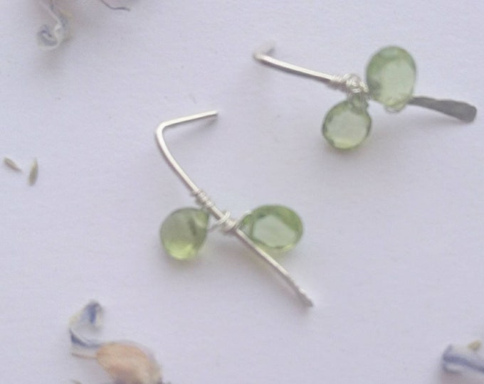 Peridot earrings, sterling silver threader earrings with tiny peridots, August birthstone gift for her birthday