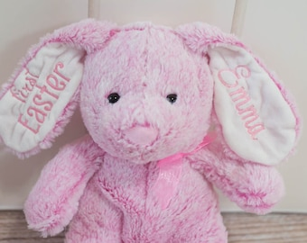 First Easter or Personalized Pink Easter Bunny with Name, Year, First Easter