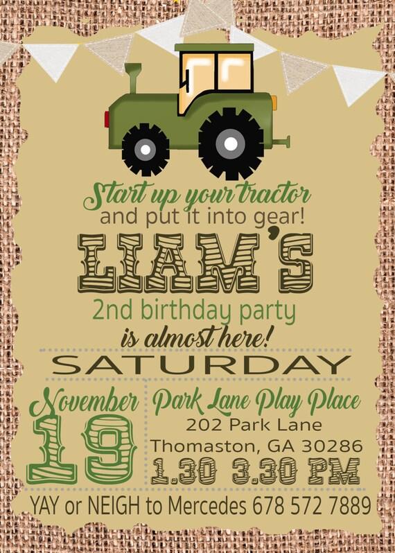 tractor birthday party invitation for john deere and farm etsy