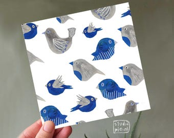 Greeting card with blue bird pattern - watercolor painted birds