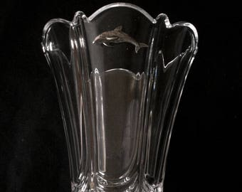 Dolphin Double Vase Fluted Glass Cut Crystal Ideal Sealife Gift