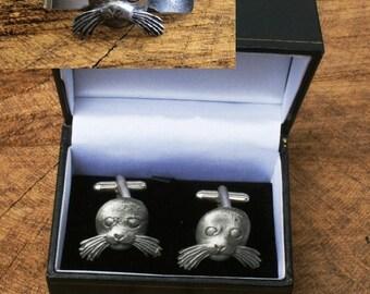 ee5391541d73 Sea Lion Cufflinks & Tie Slide Clip Mens Sea Life Gift Set UK Pewter 317