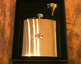 Union Jack Stainless Steel Hip Flask British Gift Free Engraving