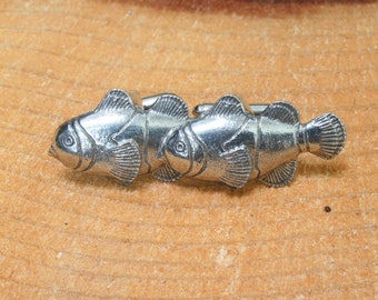 Fish Cogs Handcrafted From English Pewter Lapel Pin Badge