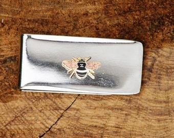 Antiqued Silver Bee Money Clip Silver Bee Clip Art Nouveau Money Clip Father/'s Day Gift Silver Gold Flying Bee Money Clip