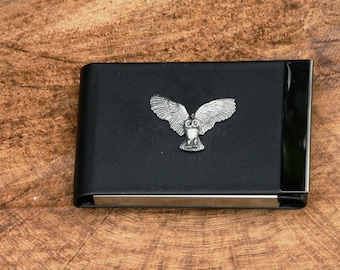 Owl business card etsy owl kr design black pu and metal creditbusiness card holder gift colourmoves