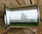 Julep Cup English Pewter Roaring Stag Head Emblem Hunting Gift 299