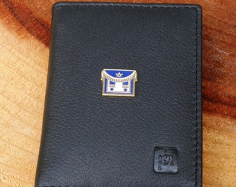 01ff151d0b Masonic Apron Real Leather Bifold Card Holder Wallet Black Or Blue Gift