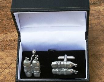 scuba diving photo image wedding Tie clips Custom Wedding Gifts Diver helmet Diving Cufflinks Silver deep sea Sports