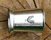 Mint Julep Cup English Pewter Cockerel Emblem Gift