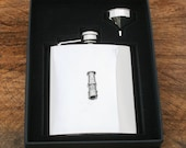 Davy Lamp Hip Flask 6 oz Stainless Steel FREE ENGRAVING Miners Gift 100