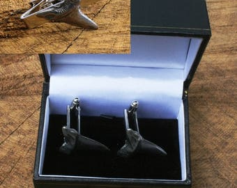 48553305bbf1 Shark Tooth Cufflinks & Tie Slide Clip Mens Sea Life Gift Set UK Pewter 320