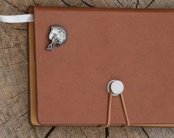 American Football Helmet Pewter Emblem A 6 Notebook Pocket Size Notepad Ideal Sports Gift