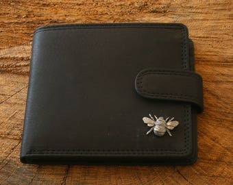 486b1cb81d2 Bumble Bee Leather Wallet Brown or Black Leather Bee Keeper Gift