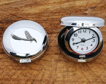 Mayfly Design Glass Clock Bedside or Desk Top Wildlife Gift Boxed