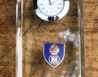 Royal Highland Fusiliers Design Glass Clock Bedside or Desk Top Military Gift Boxed ME24