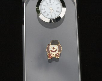 Clown Glass Clock Bedside or Desk Top Gift Boxed