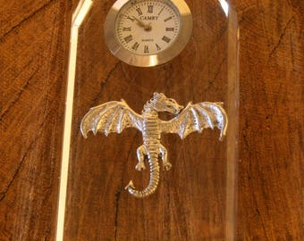 Dragon Glass Clock Bedside or Desk Top Gift Boxed
