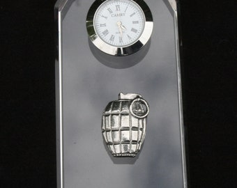 Grenade Glass Clock Bedside or Desk Top Gift Boxed