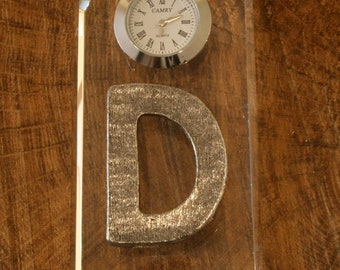Your Initial Glass Clock Bedside or Desk Top Gift Boxed
