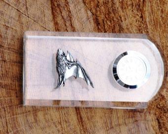 Bat Pipistrelle Design Glass Clock Bedside or Desk Top Gift Boxed