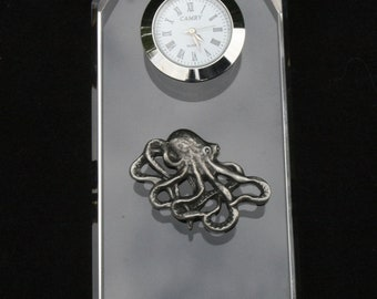Octopus Glass Clock Bedside or Desk Top Gift Boxed