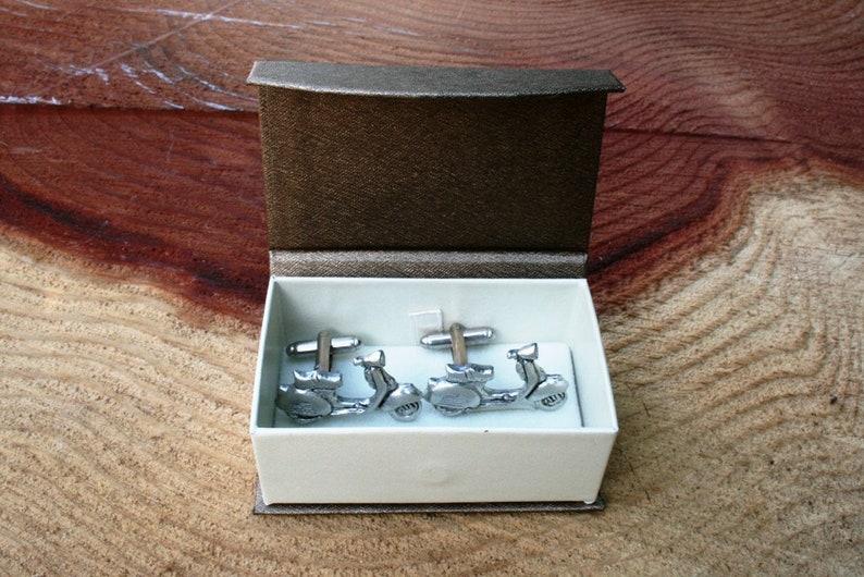 Vespa Scooter Cufflinks Pewter UK Handmade in Gift Box Motor Vehicle Gift