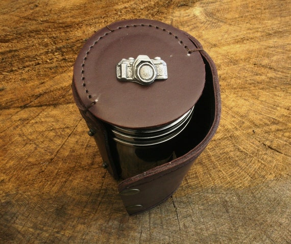 Fox Face 4 Stacking Stirrup Shot Cups in Leather Case NEW