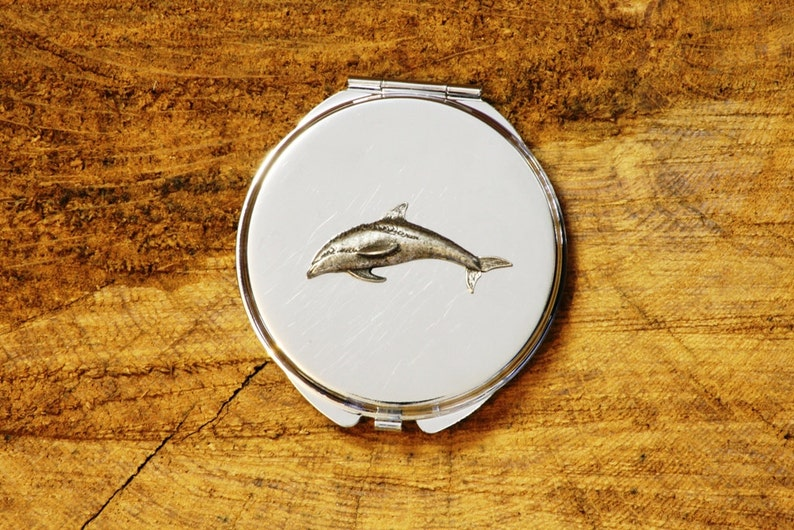 Single Dolphin Style Compact Pocket Mirror Chrome Nickle Plated FREE  ENGRAVING Sea Dolphin Metal Ladies Gift