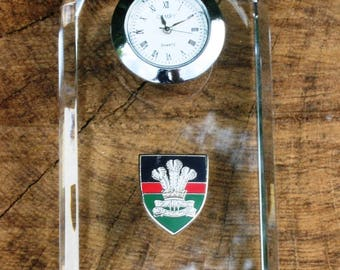 Royal Welsh Design Glass Clock Bedside or Desk Top Military Gift Boxed ME55