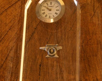 Anvil Glass Clock Bedside or Desk Top Gift Boxed