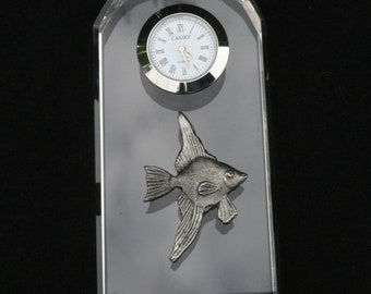 Angelfish Glass Clock Bedside or Desk Top Gift Boxed