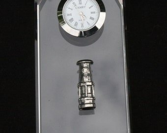Davy Lamp Glass Clock Bedside or Desk Top Gift Boxed