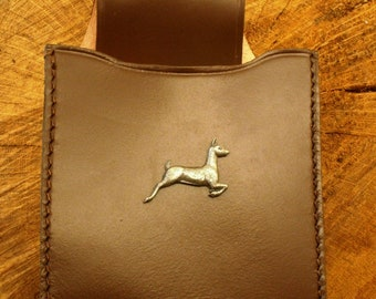 White Tailed Deer Cartridge Box Holder Brown Leather With Belt Loop Gift