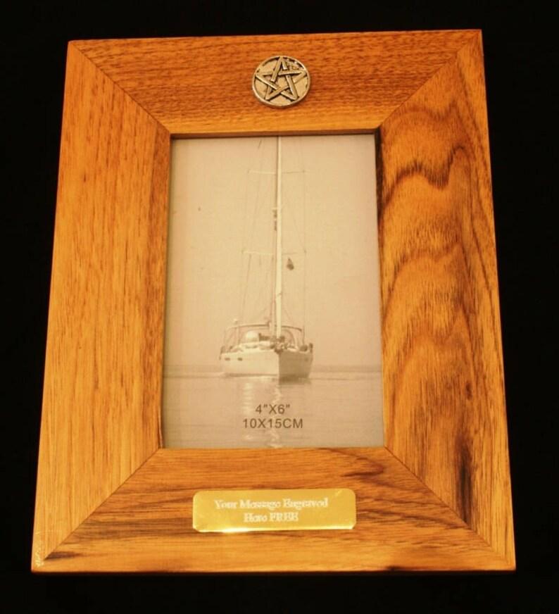 5 Pointed Star Oak Wood Frame 6x4 Landscape Or Portrait Masonic Gift 131