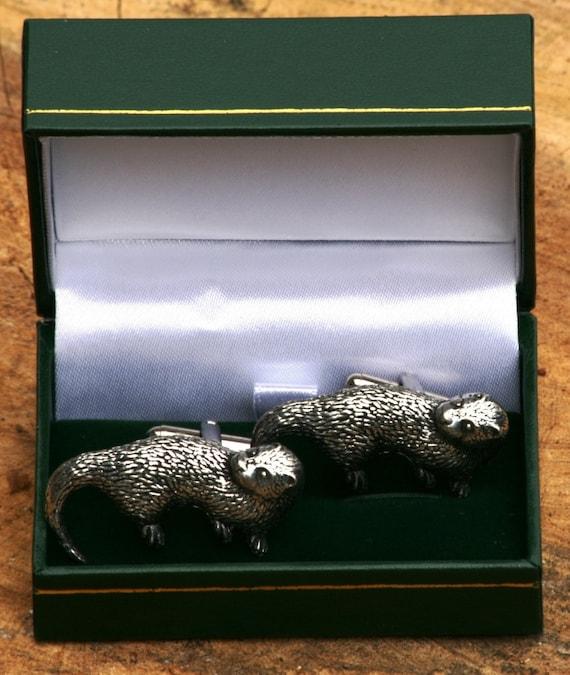 Otter Cufflinks /& Tie Slide Clip Mens Nature Gift Set UK Pewter
