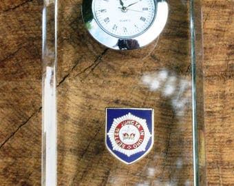 Household Division Design Glass Clock Bedside or Desk Top Military Gift Boxed ME16
