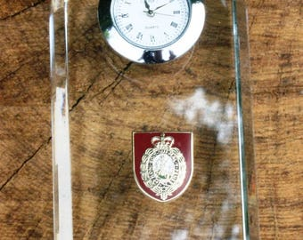 Northumberland Fusiliers Design Glass Clock Bedside or Desk Top Military Gift Boxed ME42