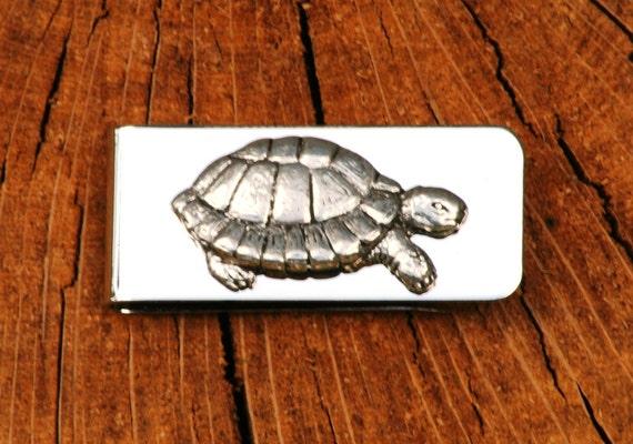 Tortue argent Clip Mens gravée tortue cadeau