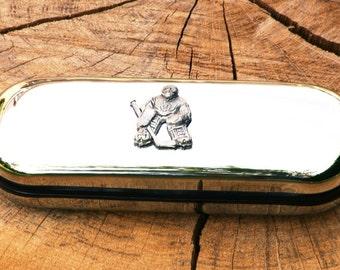 Ice Hockey Goalie Spectacle Glasses Metal Case Personalised Gift 194