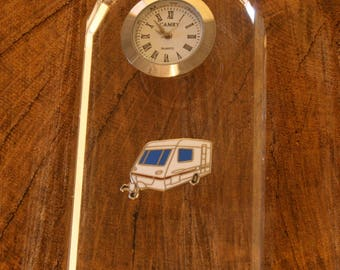 Caravan Glass Clock Bedside or Desk Top Gift Boxed