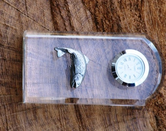 Trout Design Glass Clock Bedside or Desk Top Gift Boxed